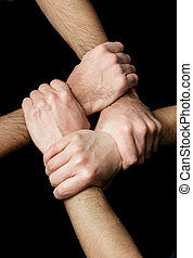 networking - hands grabbed together, solidarity