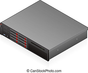 Networking hardware - An isometric icon of an blade server...