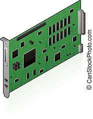 Networking hardware - An isometric icon of an internal...