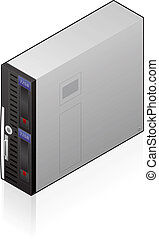 An isometric icon of an network storage unit saved as an EPS version 10.