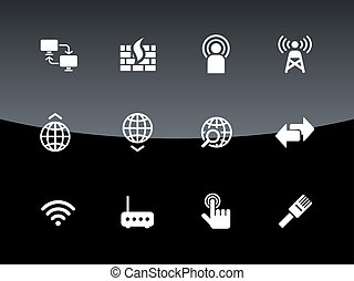 Networking icons on black background.