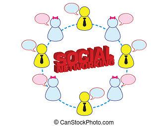 networking, kletsende, illustratie, vector, menselijk, sociaal, pictogram