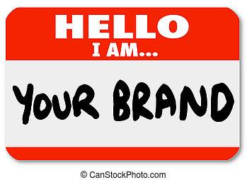 networking, marketing, merk, hallo, nametag, je, jouw