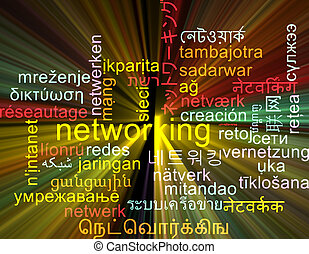 Networking multilanguage wordcloud background concept glowing