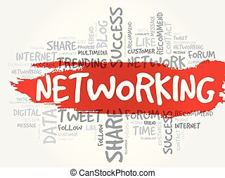 networking, palavra, nuvem