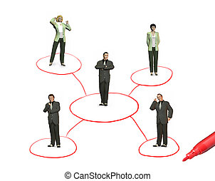 networking people and pen isolated on white background, collage