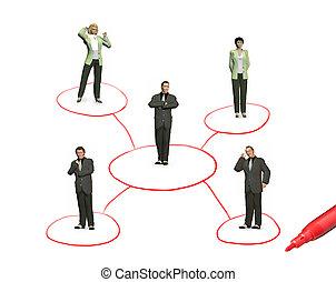 networking, pessoas, colagem, isolado, caneta, fundo, branca
