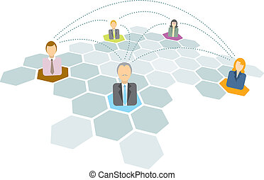 networking, pessoas negócio, ícones, /, conectando