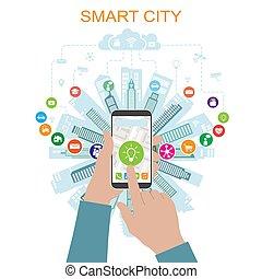 networking, sachen, sozial, heiligenbilder, fortgeschritten, klug, dienstleistungen, wirklichkeit, stadt, internet, leben, augmented