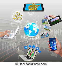 networking, sincronização, parte, streaming, informação,...