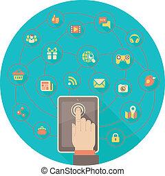 networking, tablet, sociaal