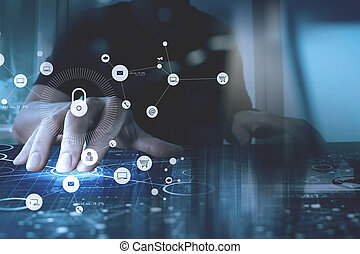 networking, trabalhando, tela, cyber, mão, padlock, vr,...