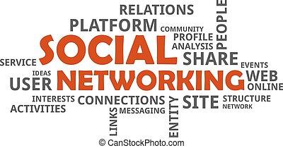 networking, -, wolk, woord, sociaal