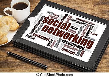 networking, woord, wolk, sociaal