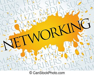 networking, woord, wolk