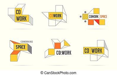 networking, zona, ícones, collection., espaço, coworking, logotipo