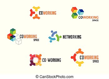 networking, zona, ícones, collection., espaço, coworking, vetorial, desenho, logotipo
