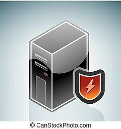 Network/Internet Firewall Protection (part of the Isometric 3D Computer Hardware Icons Set)