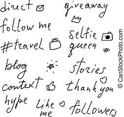 networks., lettering, social