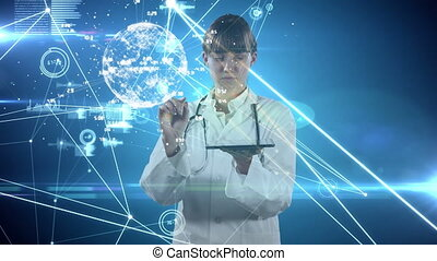 Networks of connections and spinning globe against female doctor using digital tablet