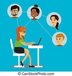 networks., social, femme, caucasien, communique, adolescent