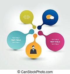 networt, flöde, chart., infographics., anförande, bubblar, runda