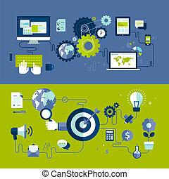 netz- design, und, werbung, prozess