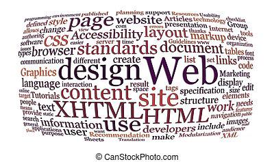 netz- design, wort, wolke