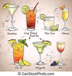 neu , ära, satz, getrãnke, cocktail