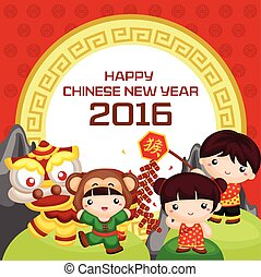 neu , 2016, gruß, chinesisches , jahr