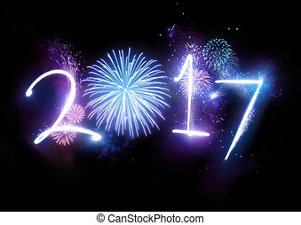 neu , 2017, feuerwerk, glücklich, jahr