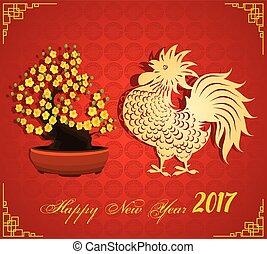 neu , 2017, glücklich, chinesisches , jahr