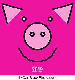 neu , 2019., glücklich, pig., jahr