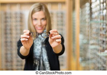 neu, Ausstellung, frau, lesende, Brille