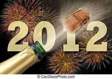 neu , champagner, jahr, 2012