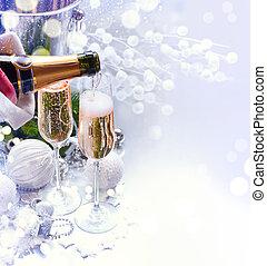 neu , champagner, weihnachtsfeier, jahr