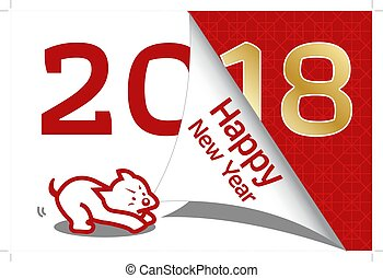 neu , glücklich, 2018, chinesisches , jahr