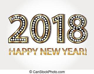 neu , glücklich, 2018, jahr