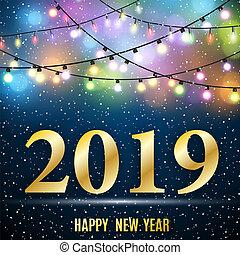 neu , glücklich, 2019, jahr