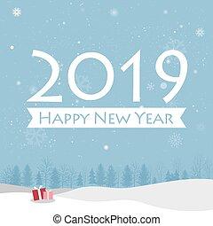 neu , glücklich, 2019, karte, jahr