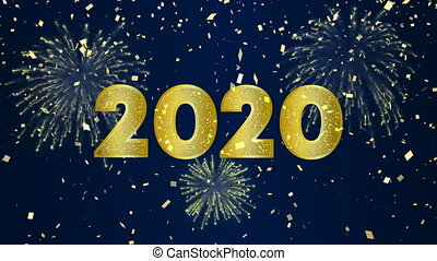 neu , gold, video, glücklich, jahr, 2020, karte, feuerwerk