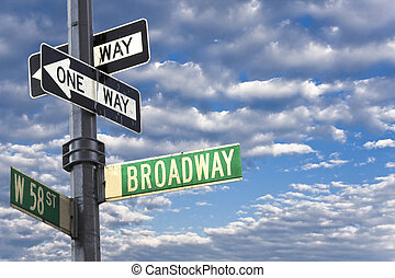 neu , manhattan, broadway, york, zeichen