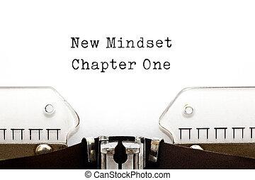 neu , mindset, kapitel, eins, schreibmaschine