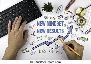 neu , mindset, neu , results., blaues, pfeil, und, heiligenbilder, ungefähr