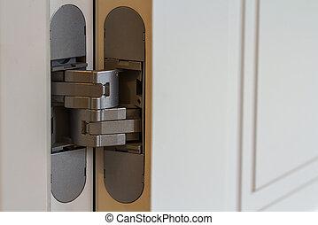 Scharniere, tür, weißes. Tür, scharniere, zwei,... Bilder ...