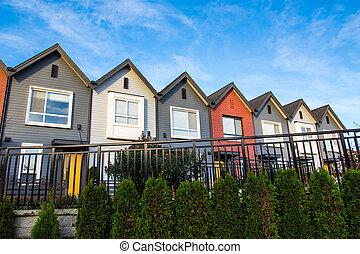 neu , modern, townhouses., luxus, bunte