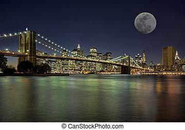 neu , moonrise, york, stadt