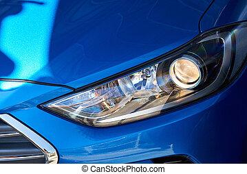 neu , scheinwerfer, von, blaues auto