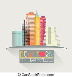 neu , skyline, york, hintergrund, reise