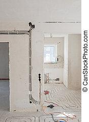 neu , underfloor, heizung, appartment, renovierung